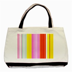 Multi Colored Bright Stripes Striped Background Wallpaper Basic Tote Bag by Amaryn4rt