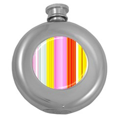 Multi Colored Bright Stripes Striped Background Wallpaper Round Hip Flask (5 Oz) by Amaryn4rt