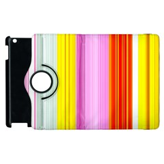 Multi Colored Bright Stripes Striped Background Wallpaper Apple Ipad 2 Flip 360 Case by Amaryn4rt