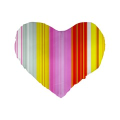 Multi Colored Bright Stripes Striped Background Wallpaper Standard 16  Premium Heart Shape Cushions by Amaryn4rt