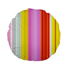 Multi Colored Bright Stripes Striped Background Wallpaper Standard 15  Premium Flano Round Cushions by Amaryn4rt