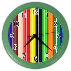 Colorful Striped Background Wallpaper Pattern Color Wall Clocks by Amaryn4rt