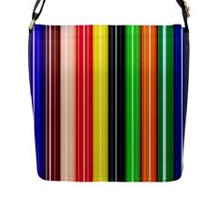 Colorful Striped Background Wallpaper Pattern Flap Messenger Bag (L)