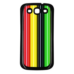 Colorful Striped Background Wallpaper Pattern Samsung Galaxy S3 Back Case (black) by Amaryn4rt