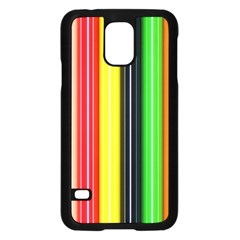 Colorful Striped Background Wallpaper Pattern Samsung Galaxy S5 Case (black) by Amaryn4rt