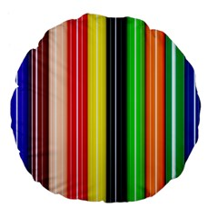 Colorful Striped Background Wallpaper Pattern Large 18  Premium Flano Round Cushions by Amaryn4rt