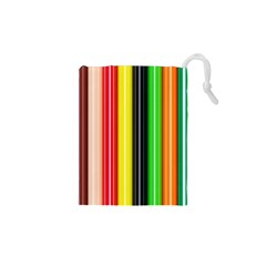 Colorful Striped Background Wallpaper Pattern Drawstring Pouches (xs)  by Amaryn4rt