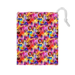Spring Hearts Bohemian Artwork Drawstring Pouches (large)  by KirstenStar