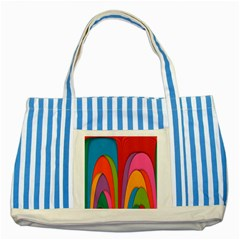 Modern Abstract Colorful Stripes Wallpaper Background Striped Blue Tote Bag by Amaryn4rt