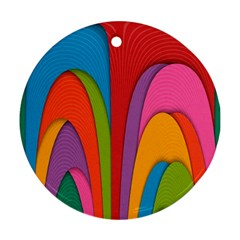 Modern Abstract Colorful Stripes Wallpaper Background Round Ornament (two Sides) by Amaryn4rt