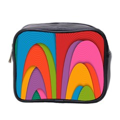 Modern Abstract Colorful Stripes Wallpaper Background Mini Toiletries Bag 2 Side by Amaryn4rt