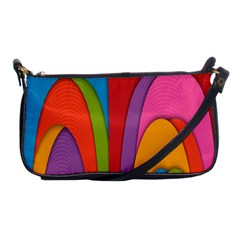 Modern Abstract Colorful Stripes Wallpaper Background Shoulder Clutch Bags by Amaryn4rt