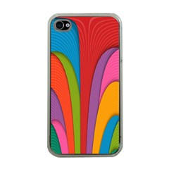 Modern Abstract Colorful Stripes Wallpaper Background Apple Iphone 4 Case (clear) by Amaryn4rt