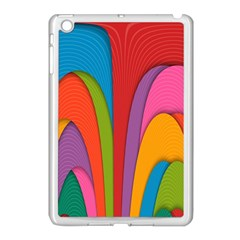 Modern Abstract Colorful Stripes Wallpaper Background Apple Ipad Mini Case (white) by Amaryn4rt
