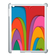 Modern Abstract Colorful Stripes Wallpaper Background Apple Ipad 3/4 Case (white) by Amaryn4rt