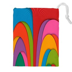 Modern Abstract Colorful Stripes Wallpaper Background Drawstring Pouches (xxl)
