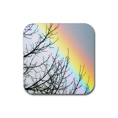 Rainbow Sky Spectrum Rainbow Colors Rubber Square Coaster (4 Pack)  by Amaryn4rt