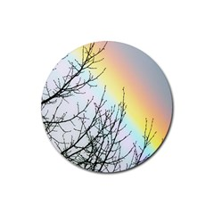 Rainbow Sky Spectrum Rainbow Colors Rubber Round Coaster (4 Pack)  by Amaryn4rt