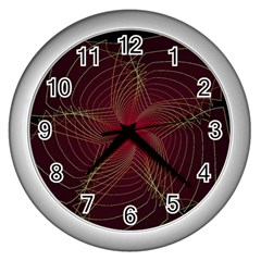 Fractal Red Star Isolated On Black Background Wall Clocks (silver)  by Amaryn4rt