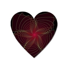 Fractal Red Star Isolated On Black Background Heart Magnet by Amaryn4rt