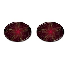 Fractal Red Star Isolated On Black Background Cufflinks (oval) by Amaryn4rt