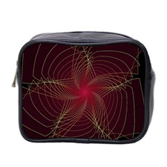 Fractal Red Star Isolated On Black Background Mini Toiletries Bag 2 Side by Amaryn4rt