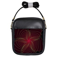 Fractal Red Star Isolated On Black Background Girls Sling Bags by Amaryn4rt