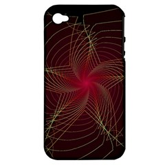 Fractal Red Star Isolated On Black Background Apple Iphone 4/4s Hardshell Case (pc+silicone) by Amaryn4rt