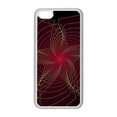 Fractal Red Star Isolated On Black Background Apple Iphone 5c Seamless Case (white) by Amaryn4rt