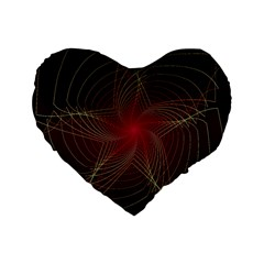 Fractal Red Star Isolated On Black Background Standard 16  Premium Flano Heart Shape Cushions by Amaryn4rt