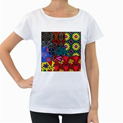 Digitally Created Abstract Patchwork Collage Pattern Women s Loose Fit T Shirt (white)