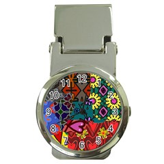Digitally Created Abstract Patchwork Collage Pattern Money Clip Watches by Amaryn4rt
