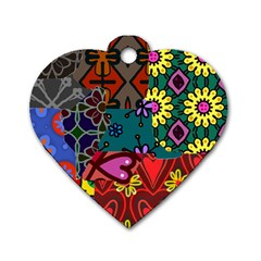 Digitally Created Abstract Patchwork Collage Pattern Dog Tag Heart (two Sides) by Amaryn4rt