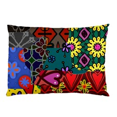 Digitally Created Abstract Patchwork Collage Pattern Pillow Case (two Sides) by Amaryn4rt