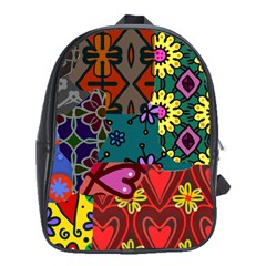 Digitally Created Abstract Patchwork Collage Pattern School Bags (xl)  by Amaryn4rt