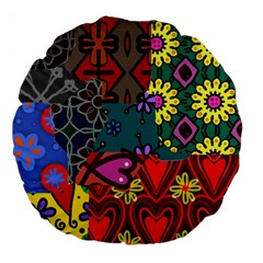 Digitally Created Abstract Patchwork Collage Pattern Large 18  Premium Flano Round Cushions by Amaryn4rt