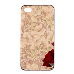Retro Background Scrapbooking Paper Apple Iphone 4/4s Seamless Case (black) by Amaryn4rt