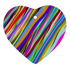 Multi Color Tangled Ribbons Background Wallpaper Ornament (heart) by Amaryn4rt