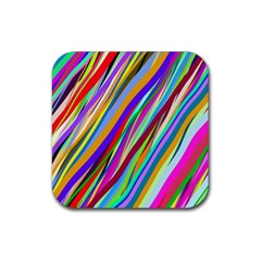 Multi Color Tangled Ribbons Background Wallpaper Rubber Coaster (square)  by Amaryn4rt