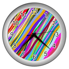 Multi Color Tangled Ribbons Background Wallpaper Wall Clocks (silver)  by Amaryn4rt