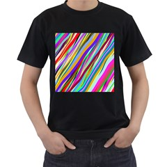 Multi Color Tangled Ribbons Background Wallpaper Men s T-Shirt (Black) by Amaryn4rt