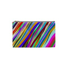 Multi Color Tangled Ribbons Background Wallpaper Cosmetic Bag (small)  by Amaryn4rt
