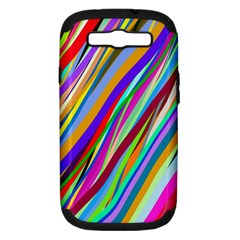 Multi Color Tangled Ribbons Background Wallpaper Samsung Galaxy S Iii Hardshell Case (pc+silicone) by Amaryn4rt