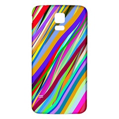 Multi Color Tangled Ribbons Background Wallpaper Samsung Galaxy S5 Back Case (white) by Amaryn4rt