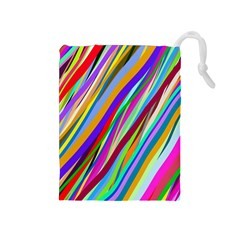 Multi Color Tangled Ribbons Background Wallpaper Drawstring Pouches (medium)  by Amaryn4rt