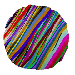 Multi Color Tangled Ribbons Background Wallpaper Large 18  Premium Flano Round Cushions by Amaryn4rt