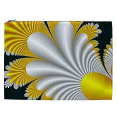 Fractal Gold Palm Tree On Black Background Cosmetic Bag (xxl)  by Amaryn4rt