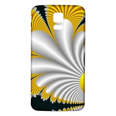 Fractal Gold Palm Tree On Black Background Samsung Galaxy S5 Back Case (white) by Amaryn4rt