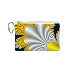 Fractal Gold Palm Tree On Black Background Canvas Cosmetic Bag (s) by Amaryn4rt