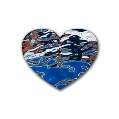 Colorful Reflections In Water Rubber Coaster (heart)  by Amaryn4rt